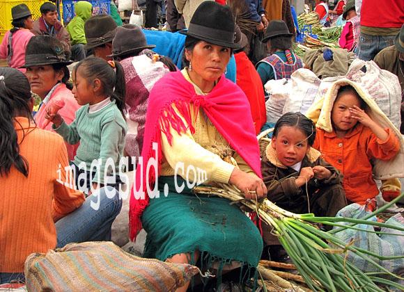 Femme quechua vendant des légumes, scène de marché dans les Andes, Amérique du Sud