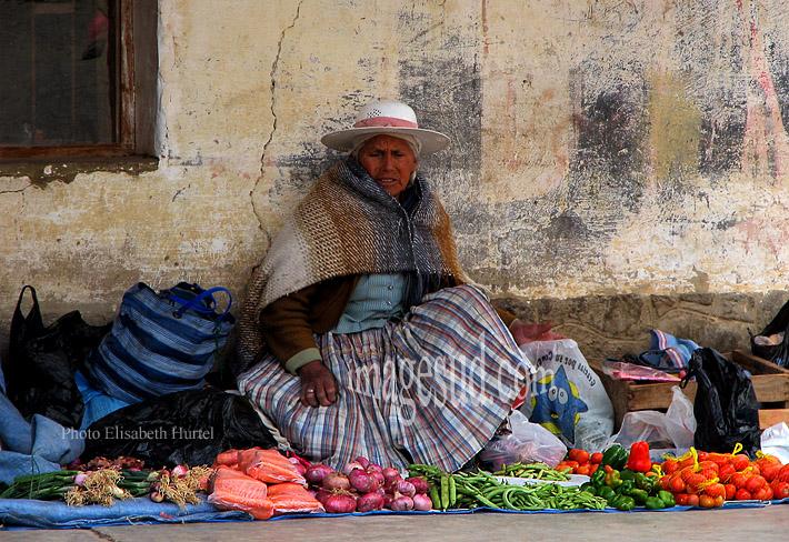 Femme des Andes vendant des fruits et légumes dans une rue de village.