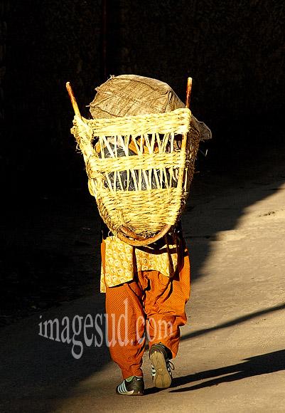 Travail des femmes : Femme avec une hotte sur le dos, Ladakh, Inde
