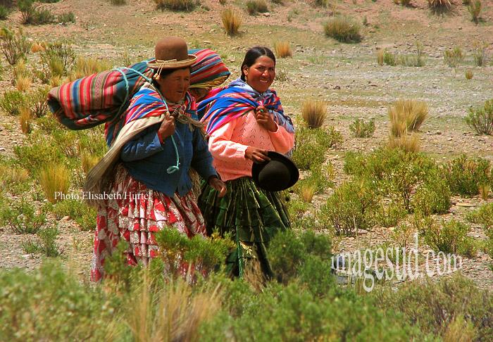 Paysannes de Bolivie rentrant du marché, femmes du sud