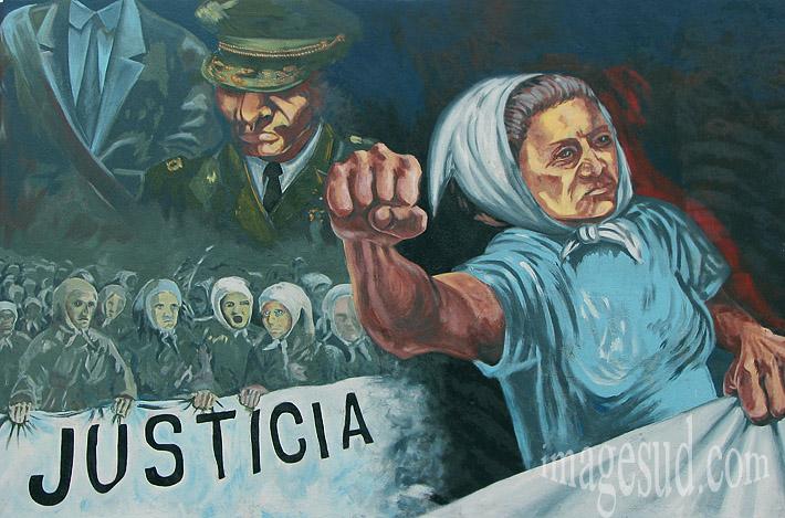 Les mères de mai : peinture murale en Argentine rappelant le combat des femmes pendant les dictatures