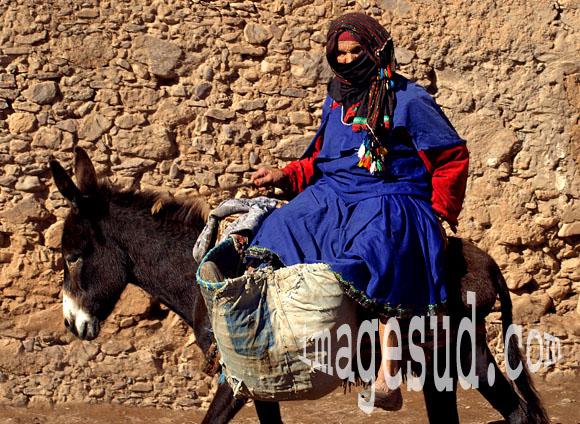 Vieille femme sur son âne au Maroc