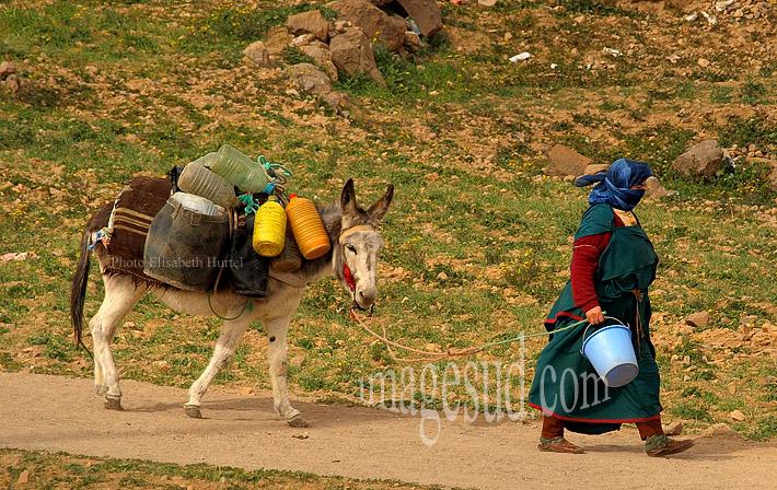 En route vers le puit pour chercher de l'eau, vie quotidienne à la campagne au Maroc