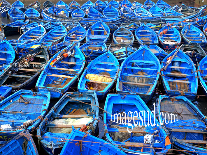 Les plus belles photos du maroc : barques bleues d'Essaouira