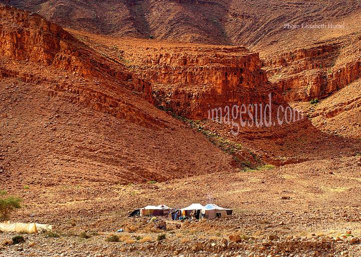 Paysage désertique du Sud Maroc, avec tentes de nomades, banque d'images du Maroc