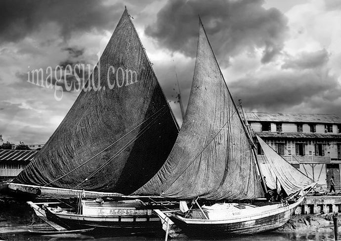 Bateaux traditionnels du Brésil, photo vintage en noir et blanc