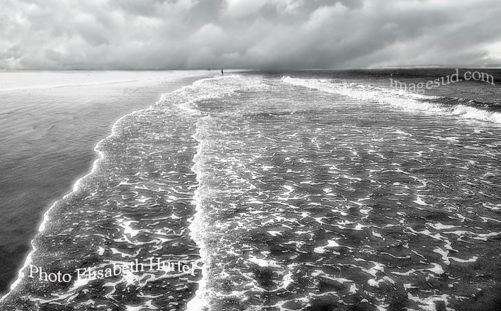 Vagues et plage, photo noir et blanc