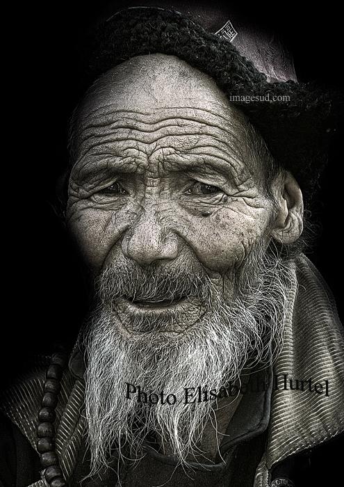 Vieil homme, Ladakh, Himalaya, photo noir et blanc