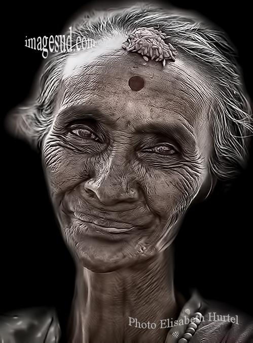 Portrait, Inde en noir et blanc