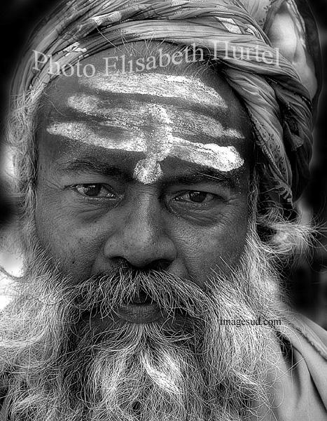 Portrait d'un sage de l'Inde, photo noir et blanc