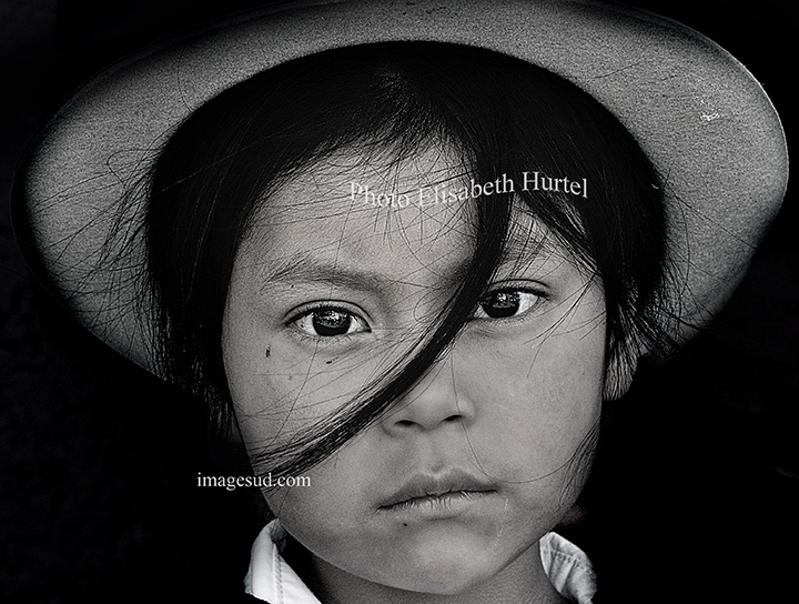 Gamin des Andes, portrait noir et blanc