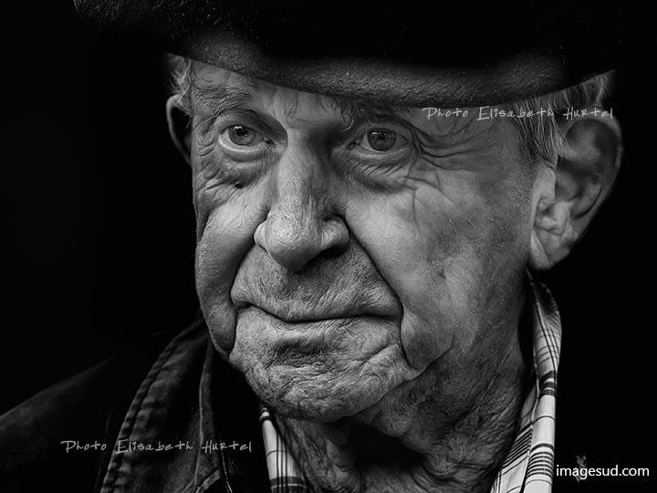 Portrait d'un paysan, noir et blanc