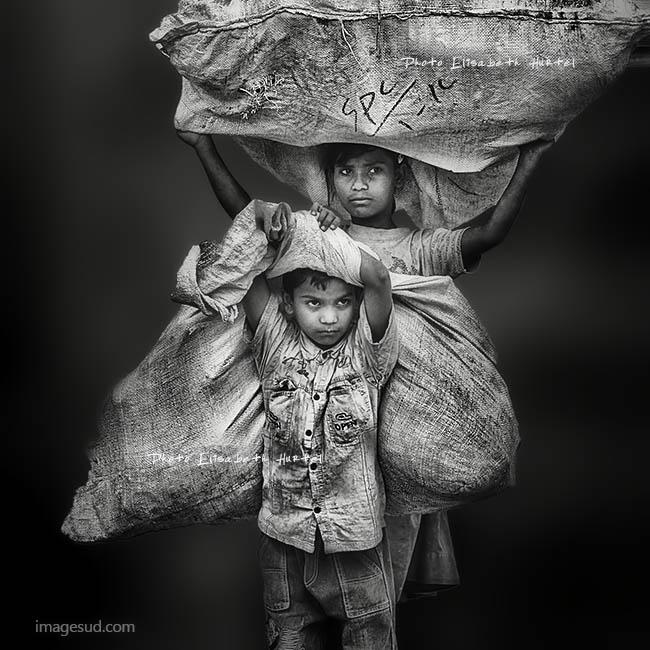 Enfants des rues, Indes, photo noir et blanc