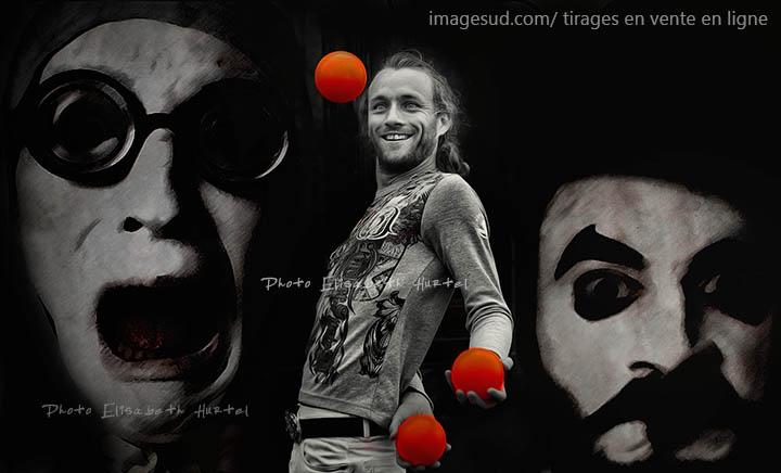 Le jongleur, photo insolite, tirage en vente en ligne