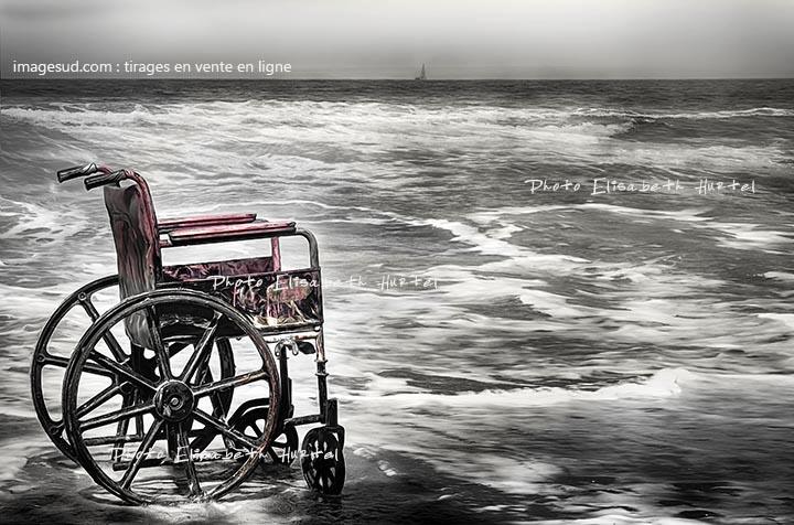 Art numérique, image noir et blanc, paysage marin