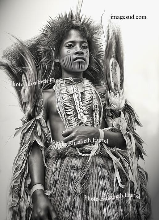 Jeune fille de Papouasie, noir et blanc