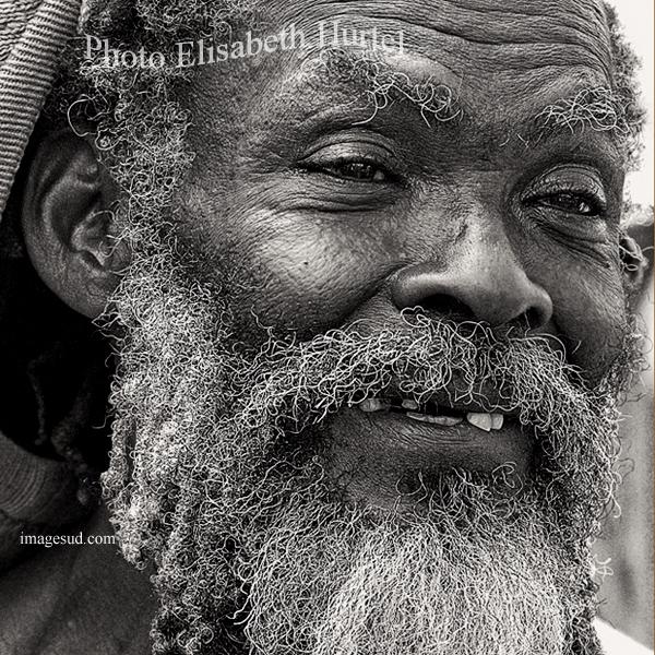 Rastaman, portrait en noir et blanc, Iles Caraïbes