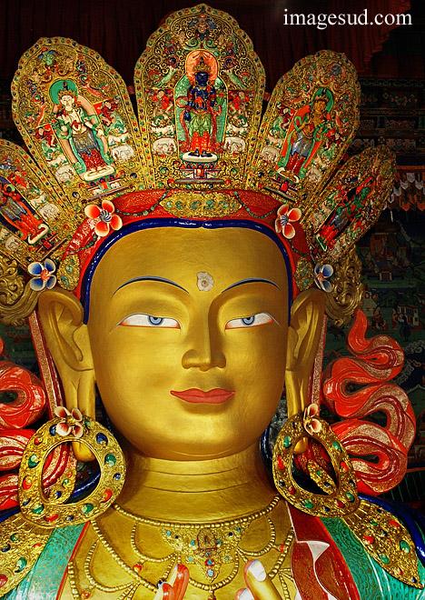 Maitreya, (le Bouddha du futur), à l'intérieur du Chamkhang, gompa de Thiksey  monastère bouddhiste au Ladakh, Himalaya  Photo ref : Ladakh : P2-6435
