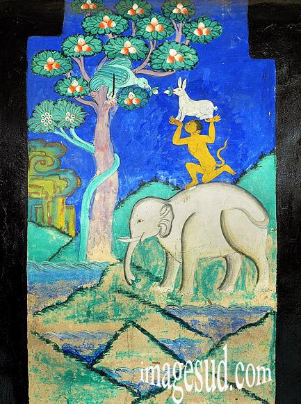 Symboles bouddhistes : peinture murale du gompa de Thiksey  Photo ref : Bouddhisme Ladakh : P2-6391