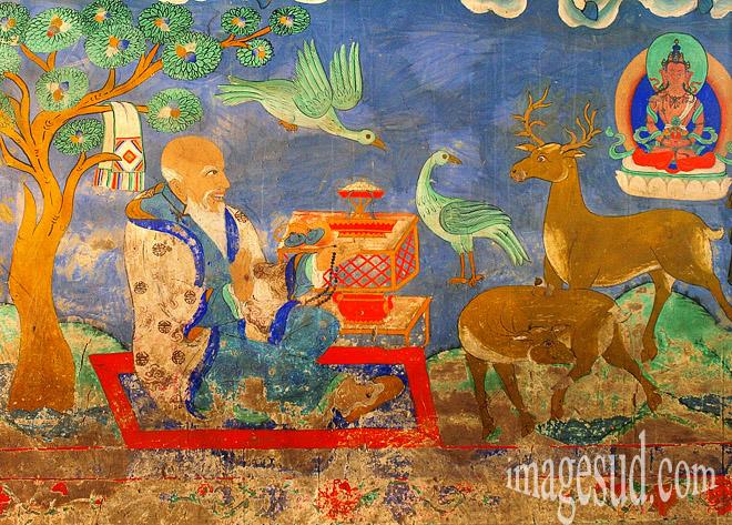 Peinture murale du gompa de Thiksey, monastère bouddhiste au Ladakh, vallée de l'Indus  Bouddhisme / Photo ref : Ladakh : P2-6409