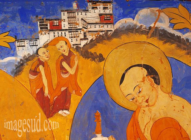 Peinture murale du gompa de Thiksey , Ladakh  Bouddhisme / Photo ref : Ladakh : P2-6395