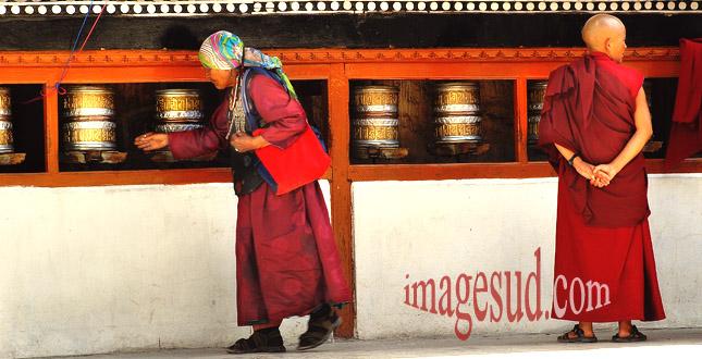 moulins à prières, temple bouddhiste de Leh, Ladakh