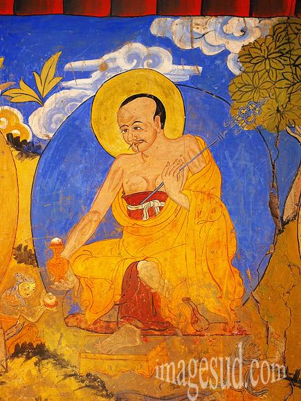 Monastère bouddhiste de Tikse, Ladakh, peinture murale