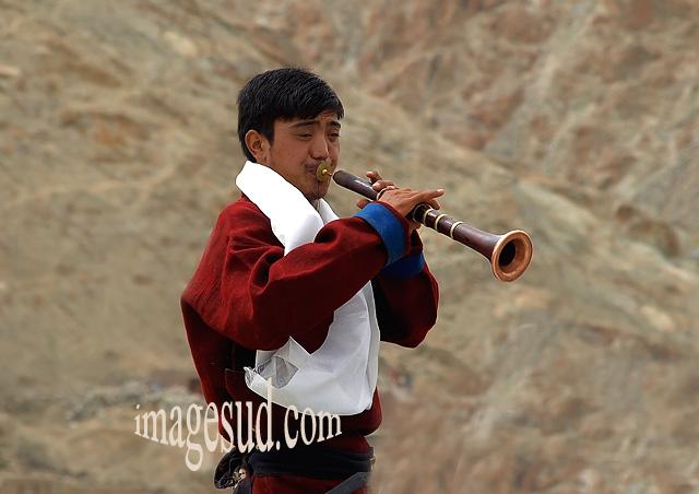Musicien traditionnel, Ladakh, Himalaya, Inde