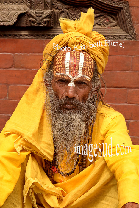 Nepal : portrait d'un sadhu. Nepal sadhu portrait