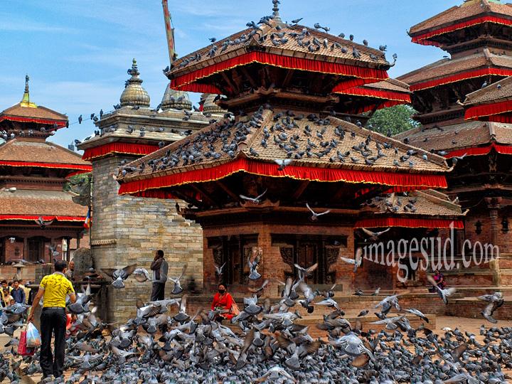 Nepal : vue de Durbar square, Katmandou. View of Durbar square, Kathmandu.