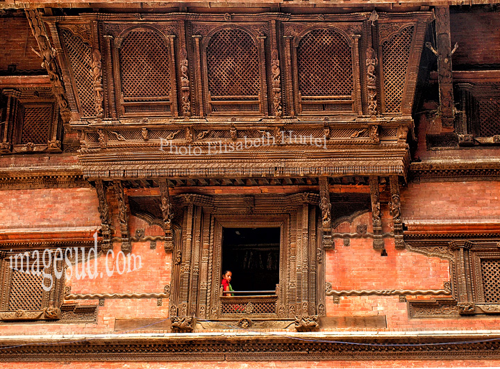 Nepal : detail architecture de Durbar square. Detail of architecture of Durbar square.